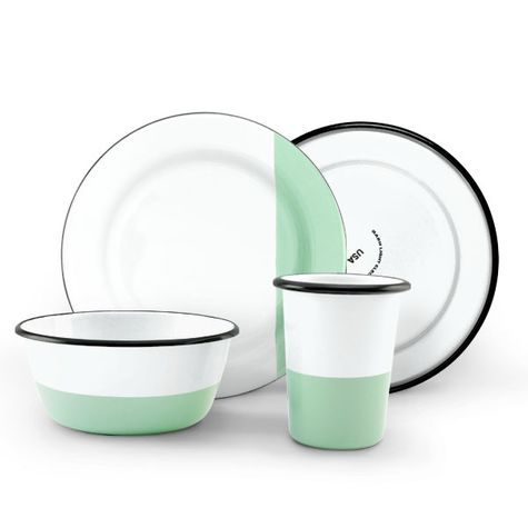 Enamel Dipped Dinnerware Set, 355-Jadite