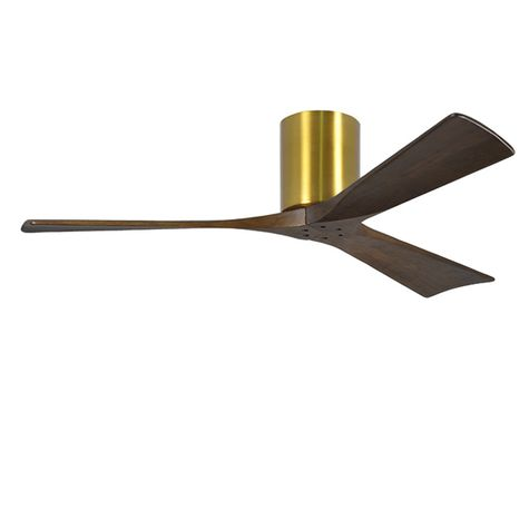 "The Zora 3 Blade Ceiling Fan, Brushed Brass, 52"" Diameter"