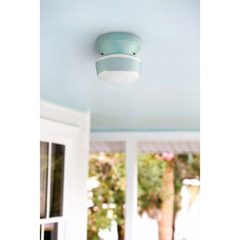 The Kao Schoolhouse Flush Mount, 311-Jadite, Small Glass, Single Stripe | Customer Submission