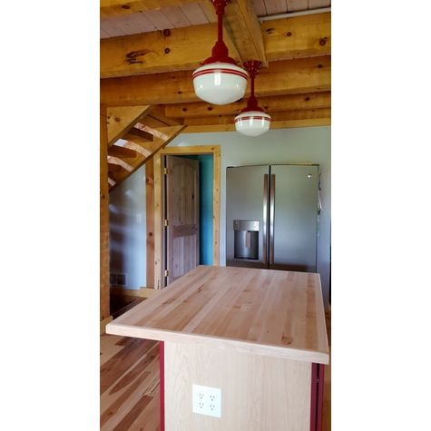 Primary Schoolhouse Stem Mount Pendant, 400-Barn Red, Small Glass, Double Red Stripe | Customer Submission