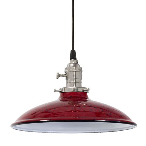 Porcelain Cherry Red with Black Sinclair Shade, Nickel Socket