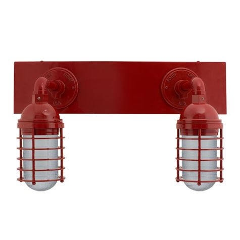 Static Ring LED Double Vanity Light, Straight Arm Mounting, 400-Barn Red, SMK-Smoke Crackle Glass