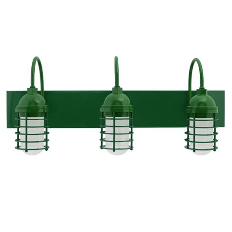 Static Ring LED Triple Vanity Light, Gooseneck Mounting, 307-Emerald Green, FST-Frosted Glass