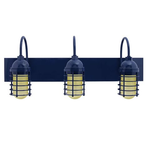 Static Ring LED Triple Vanity Light, Gooseneck Mounting, 705-Navy, HCR-Honey Crackle Glass