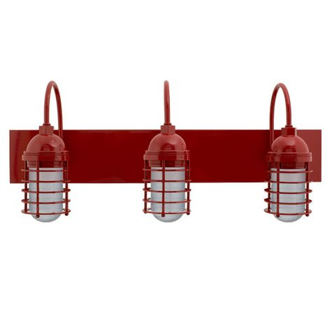 Static Ring LED Triple Vanity Light, Gooseneck Mounting, 400-Barn Red, SMK-Smoke Crackle Glass