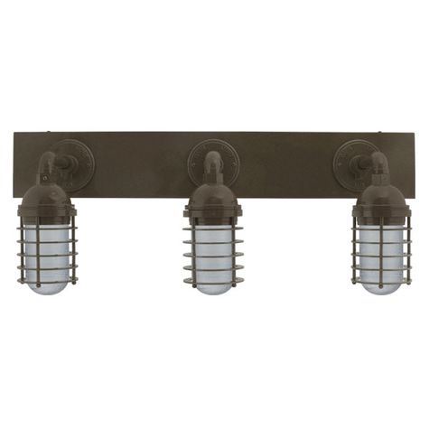 Static Ring LED Triple Vanity Light, Straight Arm Mounting, 600-Bronze, SMK-Smoke Crackle Glass