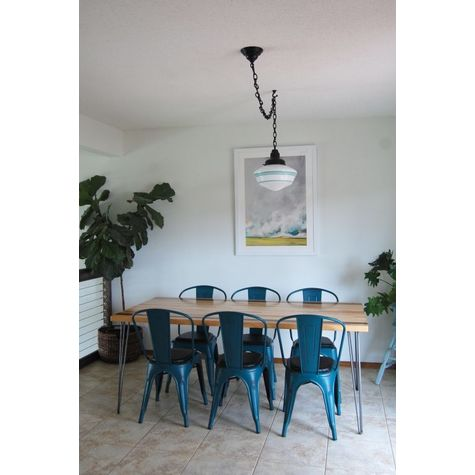 The Schoolhouse Chain Hung Pendant | Large Glass, Fitter, Chain and Canopy in 100-Black, Standard Black Cord, Triple Painted Band in 311-Jadite | Photo Courtesy of Homeowner