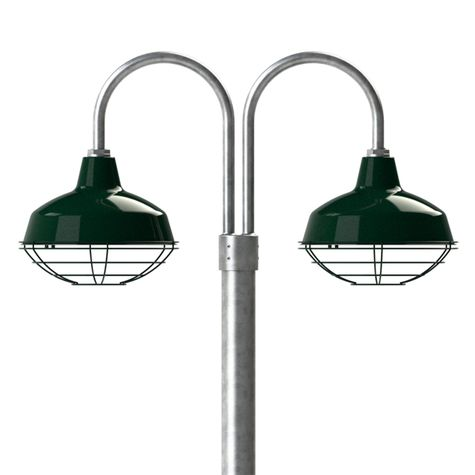 """14"""" Avalon, 350-Vintage Green, Wire Cage, 310-Vintage Green, Double Post Mount, 975-Galvanized, Smooth Direct Burial Pole, 975-Galvanized"""