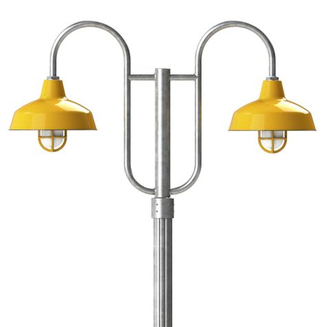 """14"""" Avalon, 550-Yellow, Standard Cast Guard & Frosted Glass, 510-Yellow, Double Decorative Post Mount, 975-Galvanized, Fluted Direct Burial Pole, 975-Galvanized"""