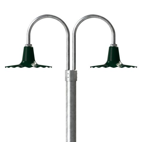 "14"" Seaside, 350-Vintage Green, Double Post Mount, 975-Galvanized, Smooth Direct Burial Pole, 975-Galvanized"