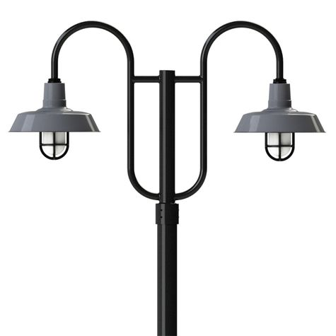 """14"""" Sky Chief, 850-Graphite, Standard Cast Guard & Frosted Glass, 110-Black, Double Decorative Post Mount, 100-Black, Smooth Direct Burial Pole, 100-Black"""