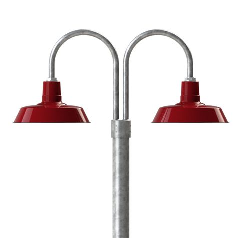 """14"""" Sky Chief, 455-Cherry Red, Double Post Mount, 975-Galvanized, Smooth Direct Burial Pole, 975-Galvanized"""