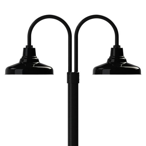 """14"""" Union, 100-Black, Double Post Mount, 100-Black, Smooth Direct Burial Pole, 100-Black"""