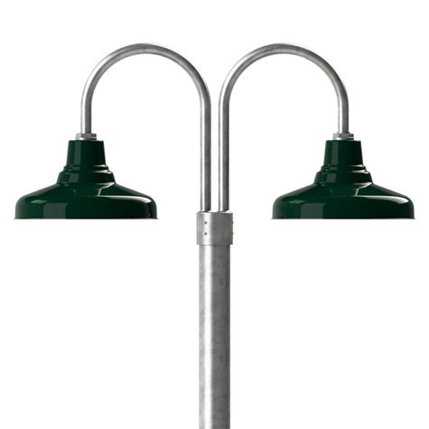 """14"""" Union, 350-Vintage Green, Double Post Mount, 975-Galvanized, Smooth Direct Burial Pole, 975-Galvanized"""