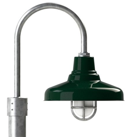 """14"""" Union, 350-Vintage Green, Heavy Duty Cast Guard & Frosted Glass, 975-Galvanized, Single Post Mount, 975-Galvanized, Smooth Direct Burial Pole, 975-Galvanized"""
