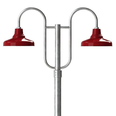 """14"""" Union, 455-Cherry Red, Double Decorative Post Mount, 975-Galvanized, Smooth Direct Burial Pole, 975-Galvanized"""