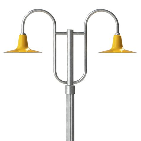 """14"""" Sterling, 550-Yellow, Double Decorative Post Mount, 975-Galvanized, Fluted Direct Burial Pole, 975-Galvanized"""