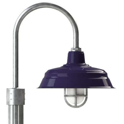 "15"" Bomber Post Mount Light, 750-Cobalt Blue, Single Post Mount Option in 975-Galvanized, Heavy Duty Cast Guard & Frosted Glass in 975-Galvanized, Fluted Direct Burial Pole in 975-Galvanized"