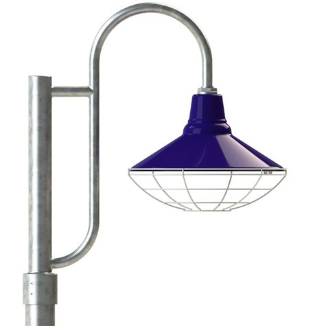 "16"" Aero, 750-Cobalt, Wire Cage, 975-Galvanized, Single Decorative Post Mount, 975-Galvanized, Smooth Direct Burial Pole, 975-Galvanized"