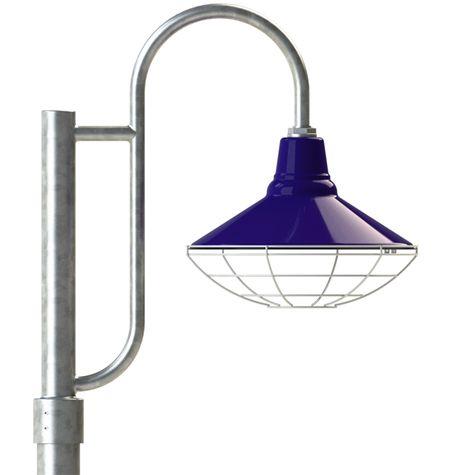 "16"" Aero, 750-Cobalt, Wire Cage, 975-Galvanized, Single Decorative Post Mount, 975-Galvanized, Smooth Direct Burial Pole, 975-Galvanized"