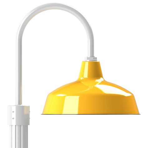 """16"""" Avalon, 550-Yellow, Single Post Mount, 200-White, Fluted Direct Burial Pole, 200-White"""