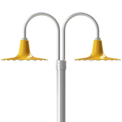 "16"" Seaside, 550-Yellow, Double Post Mount, 200-White, Smooth Direct Burial Pole, 975-Galvanized"