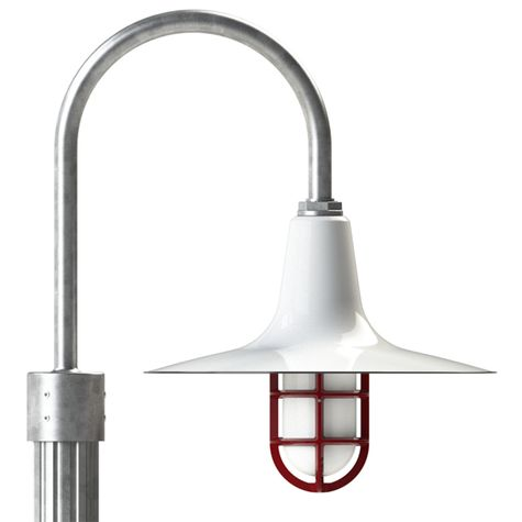 """16"""" Sterling, 250-White, Standard Cast Guard & Frosted Glass, 411-Cherry Red, Single Post Mount, 975-Galvanized, Fluted Direct Burial Pole, 975-Galvanized"""
