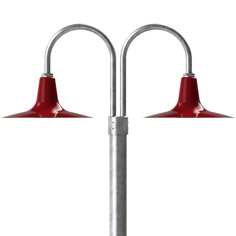 "16"" Sterling, 455-Cherry Red, Double Post Mount, 975-Galvanized, Smooth Direct Burial Pole, 975-Galvanized"
