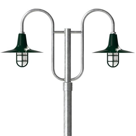 """16"""" Sterling, 350-Vintage Green, Heavy Duty Cast Guard & Frosted Glass, 310-Vintage Green, Double Decorative Post Mount, 975-Galvanized, Smooth Direct Burial Pole, 975-Galvanized"""