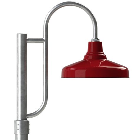 """16"""" Union, 455-Cherry Red, Single Decorative Post Mount, Smooth Direct Burial Pole, 975-Galvanized"""
