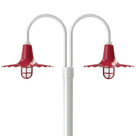 "16"" Seaside, 455-Cherry Red, Standard Cast Guard & Frosted Glass, 411-Cherry Red, Double Post Mount, 200-White, Smooth Direct Burial Pole, 200-White"
