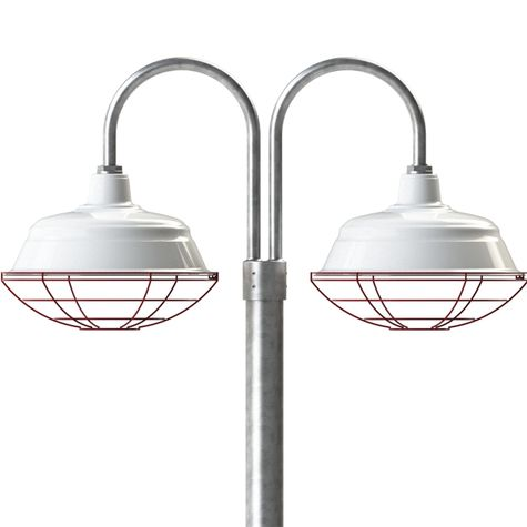 "17"" Bomber, 250-White, Wire Cage, 411-Cherry Red, Double Post Mount, 975-Galvanized, Smooth Direct Burial Pole, 975-Galvanized"