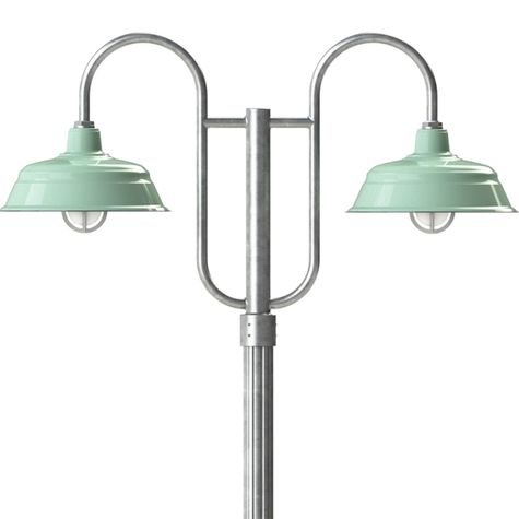 """17"""" Bomber, 355-Jadite, Standard Cast Guard & Frosted Glass, 975-Galvanized, Double Decorative Post Mount, 975-Galvanized, Fluted Direct Burial Pole, 975-Galvanized"""