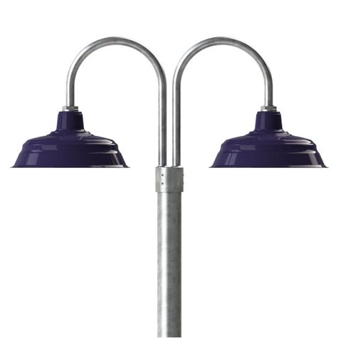 "17"" Bomber, 750-Cobalt, Double Post Mount, 975-Galvanized, Smooth Direct Burial, 975-Galvanized"