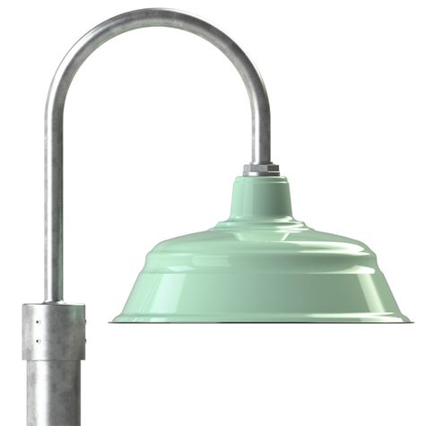 "17"" Bomber Post Mount Light, 355-Jadite, Single Post Mount Option in 975-Galvanized, Smooth Direct Burial Pole in 975-Galvanized"
