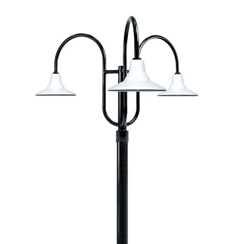 "14"" Aero, 250-White, 3-Light Post Mount, 100-Black, Smooth Direct Burial Pole, 100-Black"