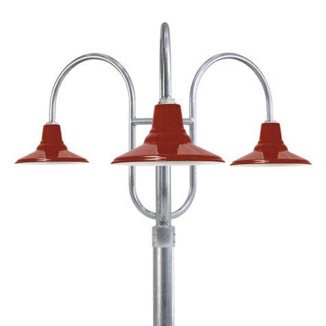 "14"" Aero, 400-Barn Red, 3-Light Post Mount, 975-Galvanized, Smooth Direct Burial Pole, 975-Galvanized"