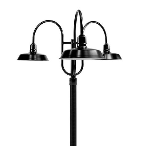 "16"" Sky Chief, 100-Black, 3-Light Post Mount, 100-Black, Smooth Direct Burial Pole, 100-Black"