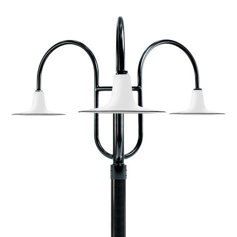 """16"""" Sterling, 250-White, 3-Light Post Mount, 100-Black, Smooth Direct Burial Pole, 100-Black"""