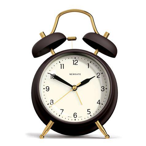 Brass Knocker Alarm Clock, Matte Chocolate Black