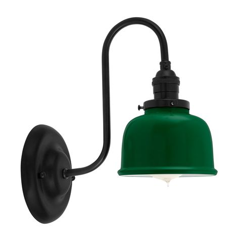 Fargo Wall Sconce, 307-Emerald Shade, 100-Black Mounting, No Switch