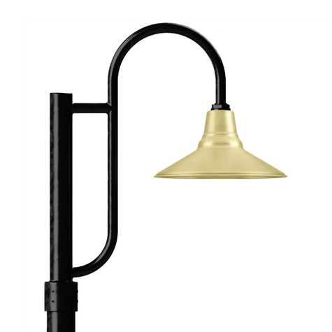 "14"" Aero, 997-Raw Brass, Single Decorative Post Mount, 100-Black, Smooth Direct Burial Pole, 100-Black"