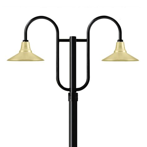 """14"""" Aero, 997-Raw Brass, Standard Cast Guard & Frosted Glass, 975-Galvanized, Double Decorative Post Mount, 100-Black, Smooth Direct Burial Pole, 975-Galvanized"""