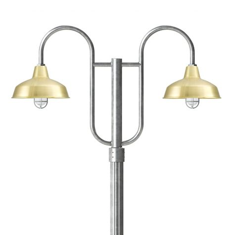 """14"""" Avalon, 997-Raw Brass, Standard Cast Guard & Clear Crackle Glass, 975-Galvanized, Double Decorative Post Mount, 975-Galvanized, Fluted Direct Burial Pole, 975-Galvanized"""