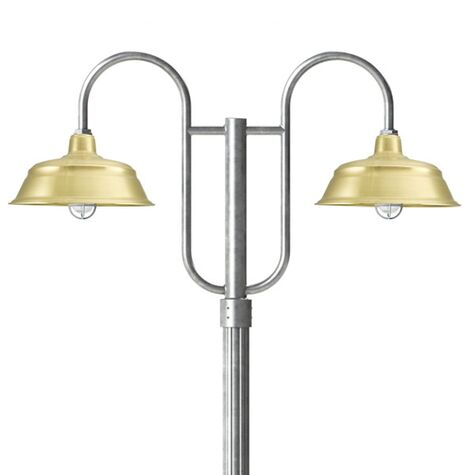 """17"""" Bomber, 997-Raw Brass, Standard Cast Guard & Clear Crackle Glass, 975-Galvanized, Double Decorative Post Mount, 975-Galvanized, Fluted Direct Burial Pole, 975-Galvanized"""