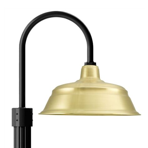 """17"""" Bomber Post Mount Light, 997-Raw Brass, Single Post Mount Option in 100-Black, Fluted Direct Burial Pole in 100-Black"""