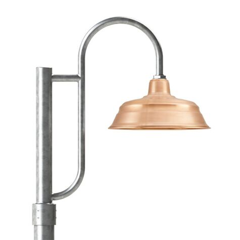 "15"" Bomber Post Mount Light, 995-Raw Copper, Single Decorative Post Mount Option in 975-Galvanized, Smooth Direct Burial Pole in 975-Galvanized"