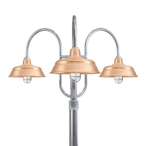 "17"" Bomber, 995-Raw Copper, 3-Light Post Mount, 975-Galvanized, Smooth Direct Burial Pole, 975-Galvanized"