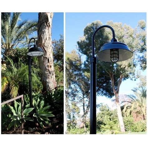 """17"""" Bomber Post Mount Light, 150-Black, Single Post Mount Option in 100-Black, Smooth Direct Burial Pole in 100-Black (Left: Includes Optional Wire Cage, Right: Includes Cast Guard & Glass) 
