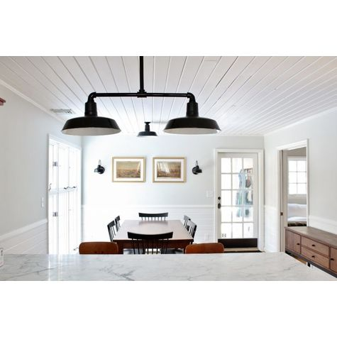 "Benjamin Gilmore 2-Light Porcelain Stem Mount Pendant, 16"" Shades, 150-Black, 12"" Arms (Shown with Sky Chief Stem Mount Pendant, Flush Mounted, and Arlington Sconces 